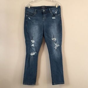 Torrid Skinny Distressed Stretchy Blue Jeans